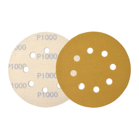 "5"" (125mm) 8-Hole 1000 Grit Yellow Hook&Loop Sanding Discs for Dry Sanding, 10 Discs"