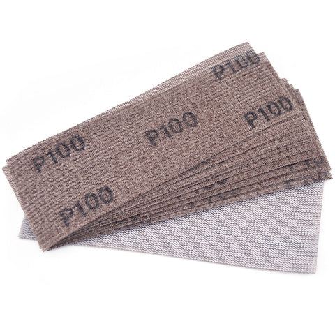"3 x 8""(70 x 198mm)100 Grit Hook & Loop or Clip on Sander Pads,Mesh Dust Free Sandpaper, 10 PCS"