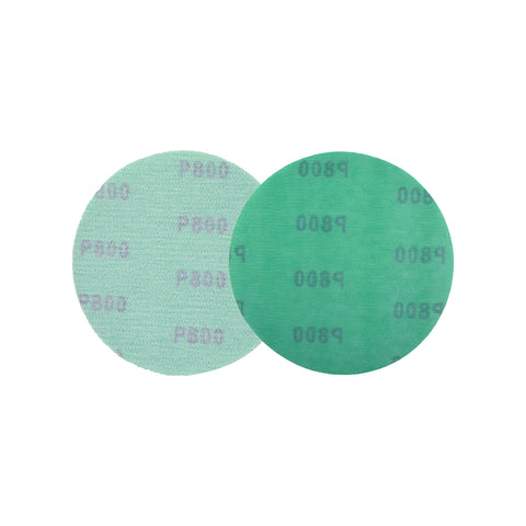 "5"" (125mm) 800 Grit Hook & Loop Wet/Dry Polyester Film Green Sanding Discs, 10 Discs"