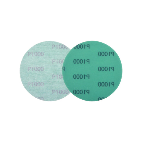 "5"" (125mm) 1000 Grit Hook & Loop Wet/Dry Polyester Film Green Sanding Discs, 10 Discs"