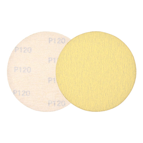 "5"" (125mm) 120 Grit Yellow Hook&Loop Sanding Discs for Dry Sanding, 10 Discs"