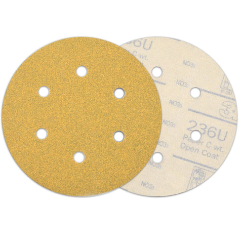 "6"" (150mm) 6-Hole 120 Grit Yellow Hook&Loop Sanding Discs for Dry Sanding, 10 Discs"