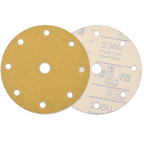 "6"" (150mm) 9-Hole 120 Grit Yellow Hook&Loop Sanding Discs for Dry Sanding, 10 Discs"