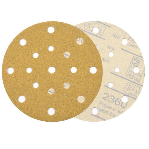 "6"" (150mm) 17-Hole 120 Grit Yellow Hook&Loop Sanding Discs for Dry Sanding, 10 Discs"