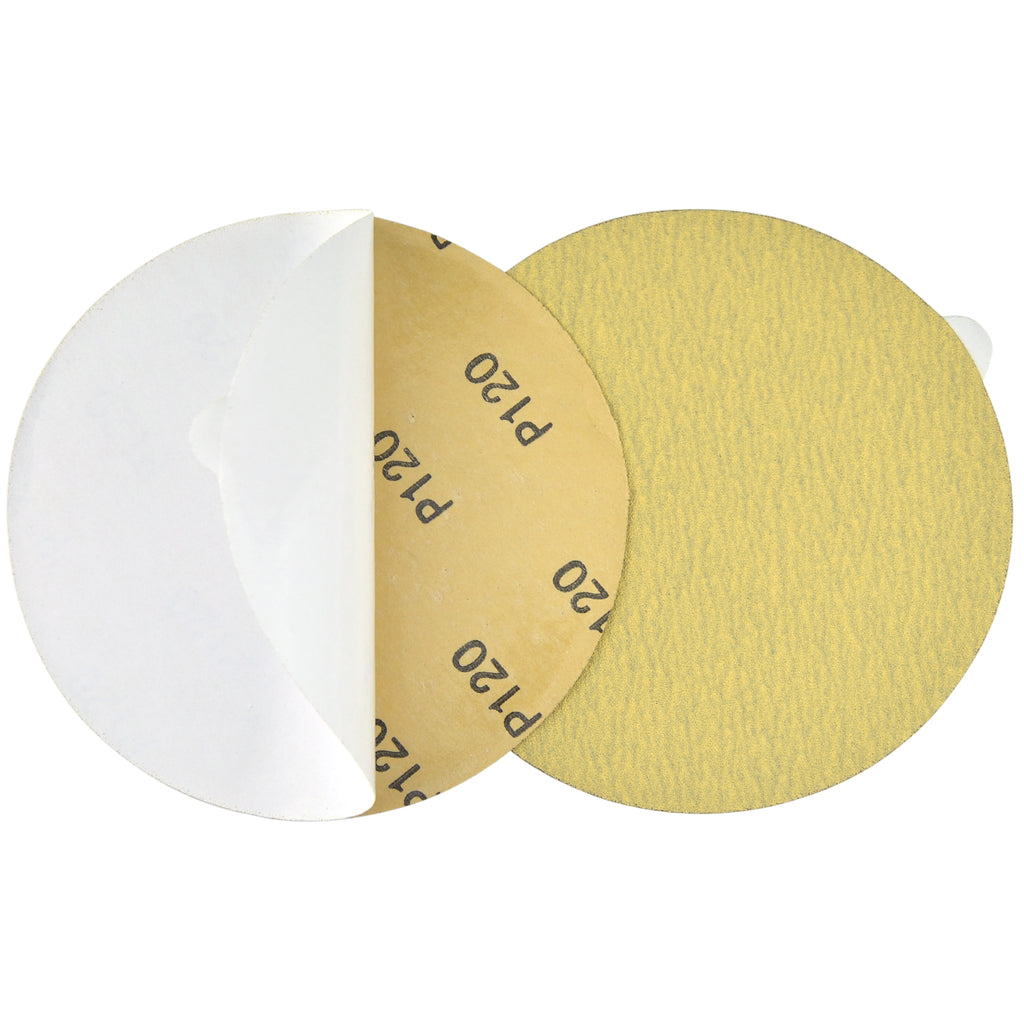 "6"" (150mm) 120 Grit PSA Yellow Grain Sanding Discs for Wet/Dry Sanding, 10 Discs"