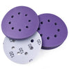 "5"" (125mm) 8-Hole 120 Grit Hook & Loop Wet/Dry Polyester Film Purple Sanding Discs, 10 Discs"