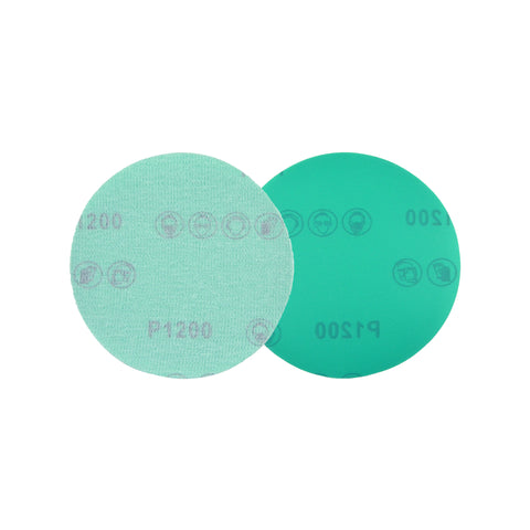 "5"" (125mm) 1200 Grit Hook & Loop Wet/Dry Polyester Film Green Sanding Discs, 10 Discs"