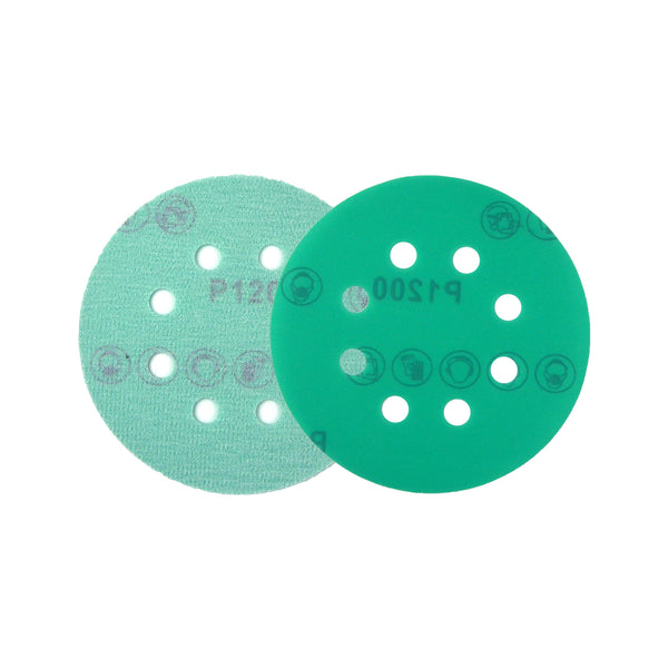 "5"" (125mm) 8-Hole 1200 Grit Hook & Loop Wet/Dry Polyester Film Green Sanding Discs, 10 Discs"