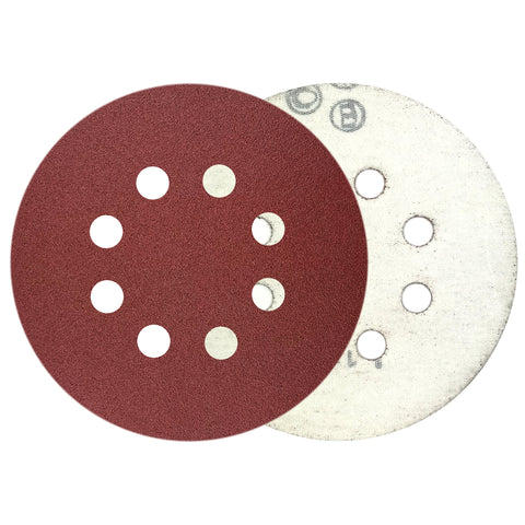 "5"" 150 Grit 8-Hole Red Grain Hook & Loop Sanding Discs, 10 Discs"