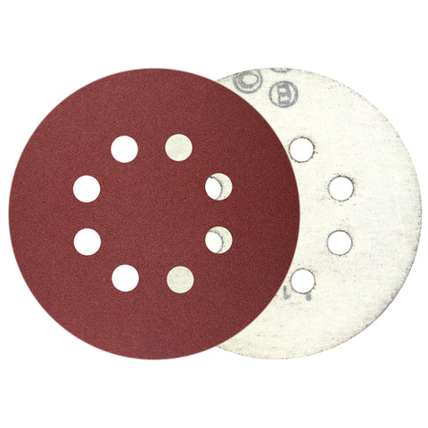 "5"" 180 Grit 8-Hole Red Grain Hook & Loop Sanding Discs, 10 Discs"