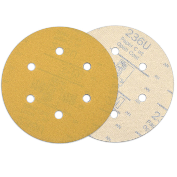 "6"" (150mm) 6-Hole 180 Grit Yellow Hook&Loop Sanding Discs for Dry Sanding, 10 Discs"