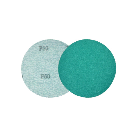 "5"" (125mm) 60 Grit Hook & Loop Wet/Dry Polyester Film Green Sanding Discs, 10 Discs"