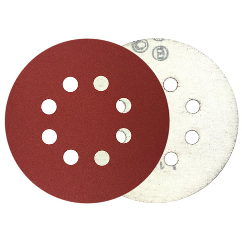 "5"" 240 Grit 8-Hole Red Grain Hook & Loop Sanding Discs, 10 Discs"
