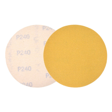 "5"" (125mm) 240 Grit Yellow Hook&Loop Sanding Discs for Dry Sanding, 10 Discs"