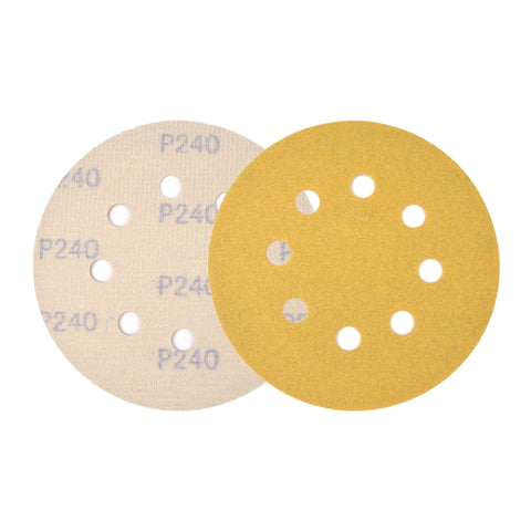 "5"" (125mm) 8-Hole 240 Grit Yellow Hook&Loop Sanding Discs for Dry Sanding, 10 Discs"
