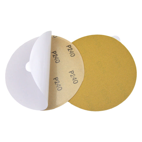 "6"" (150mm) 240 Grit PSA Yellow Grain Sanding Discs for Wet/Dry Sanding, 10 Discs"