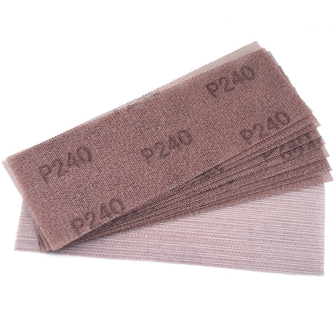 "3 x 8""(70 x 198mm)240 Grit Hook & Loop or Clip on Sander Pads,Mesh Dust Free Sandpaper, 10 PCS"