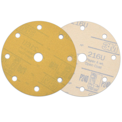 "6"" (150mm) 9-Hole 240 Grit Yellow Hook&Loop Sanding Discs for Dry Sanding, 10 Discs"