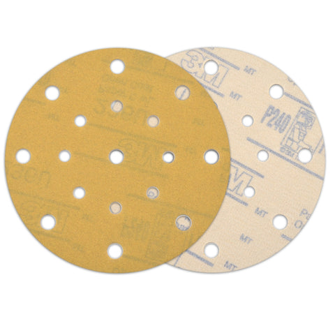 "6"" (150mm) 17-Hole 240 Grit Yellow Hook&Loop Sanding Discs for Dry Sanding, 10 Discs"