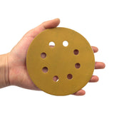 "5"" (125mm) 8-Hole 320 Grit Yellow Hook&Loop Sanding Discs for Dry Sanding, 10 Discs"