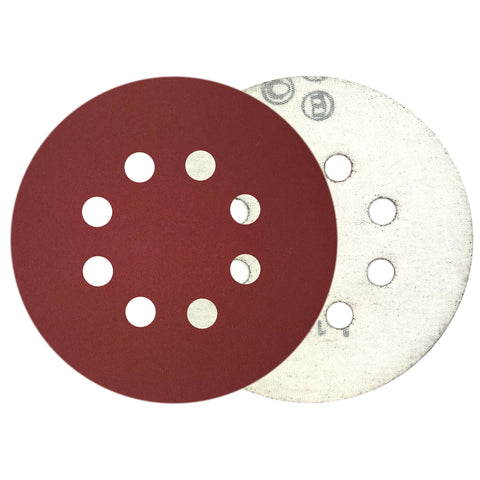 "5"" 320 Grit 8-Hole Red Grain Hook & Loop Sanding Discs, 10 Discs"
