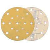"6"" (150mm) 17-Hole 320 Grit Yellow Hook&Loop Sanding Discs for Dry Sanding, 10 Discs"