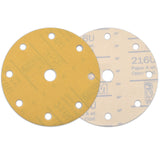 "6"" (150mm) 9-Hole 320 Grit Yellow Hook&Loop Sanding Discs for Dry Sanding, 10 Discs"