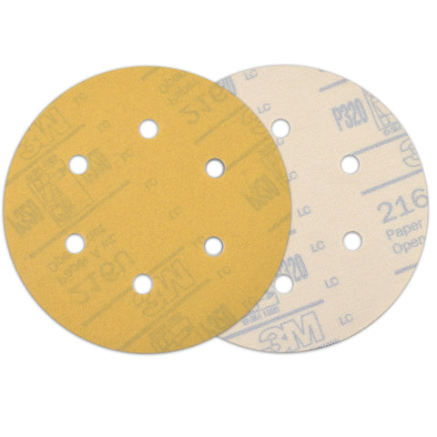 "6"" (150mm) 6-Hole 320 Grit Yellow Hook&Loop Sanding Discs for Dry Sanding, 10 Discs"