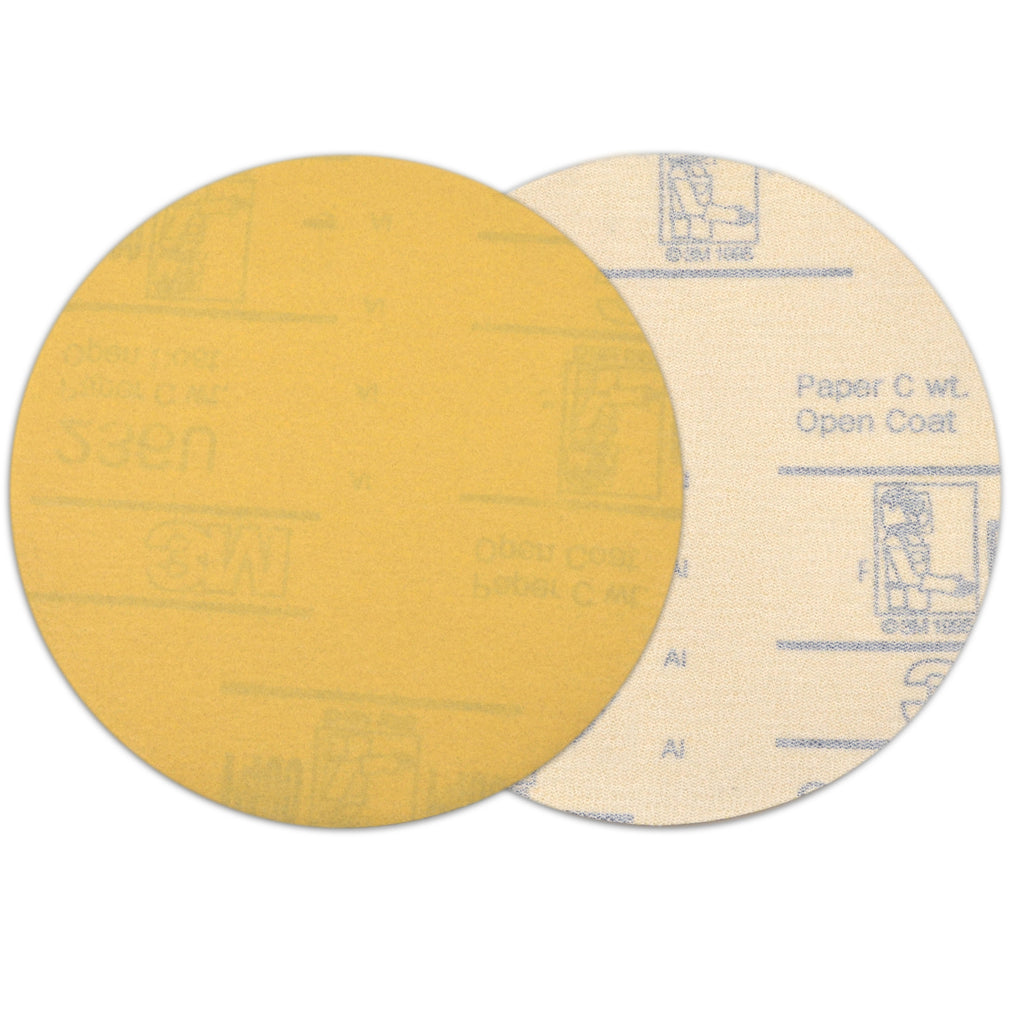 "6"" (150mm) 320 Grit Yellow Hook&Loop Sanding Discs for Dry Sanding, 10 Discs"