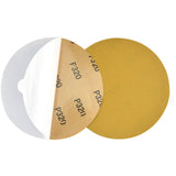 "6"" (150mm) 320 Grit PSA Yellow Grain Sanding Discs for Wet/Dry Sanding, 10 Discs"
