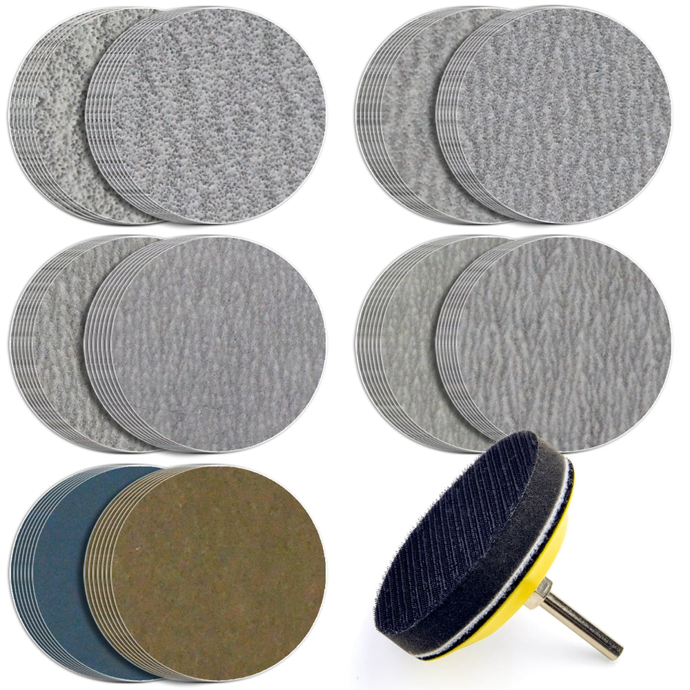 "3"" (75mm) Assorted Grits Sanding Discs with 6mm Shank Backing Pad + Foam Buffer Pad, 100 Discs"