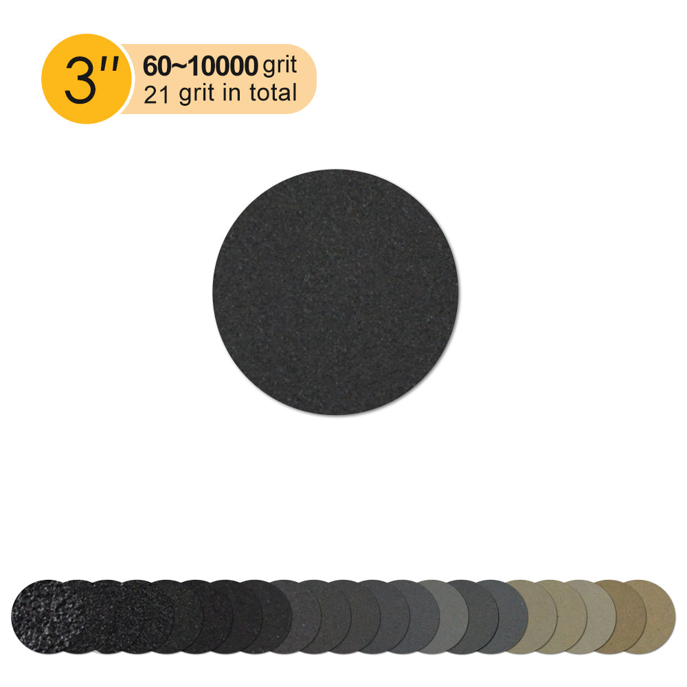 "3"" (75mm) Silicon Carbide Wet/Dry Hook & Loop Sanding Discs (60-10000 Grit), 1 Disc"