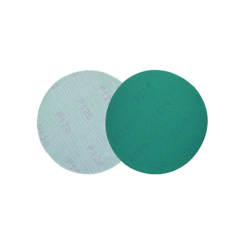 "5"" (125mm) 120 Grit Hook & Loop Wet/Dry Polyester Film Green Sanding Discs, 10 Discs"