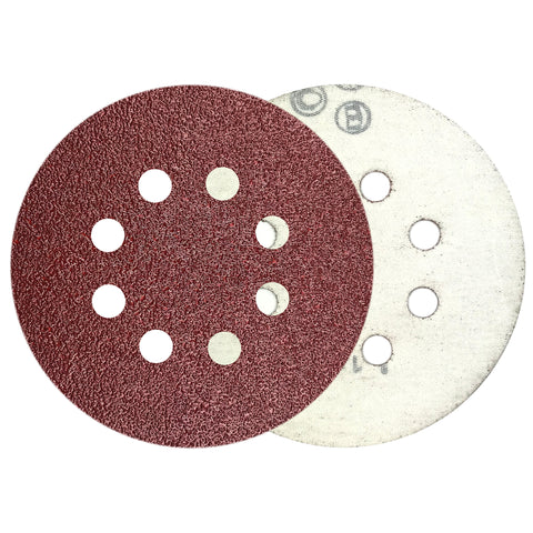 "5"" 40 Grit 8-Hole Red Grain Hook & Loop Sanding Discs , 10 Discs"