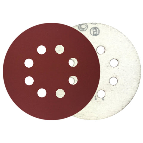 "5"" 400 Grit 8-Hole Red Grain Hook & Loop Sanding Discs, 10 Discs"