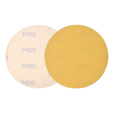 "5"" (125mm) 400 Grit Yellow Hook&Loop Sanding Discs for Dry Sanding, 10 Discs"