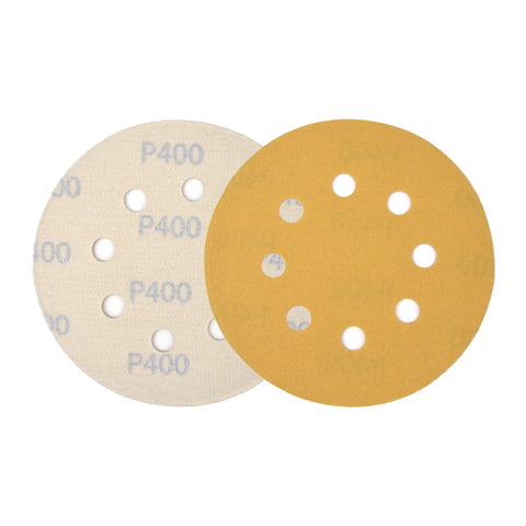"5"" (125mm) 8-Hole 400 Grit Yellow Hook&Loop Sanding Discs for Dry Sanding, 10 Discs"