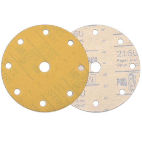 "6"" (150mm) 9-Hole 400 Grit Yellow Hook&Loop Sanding Discs for Dry Sanding, 10 Discs"