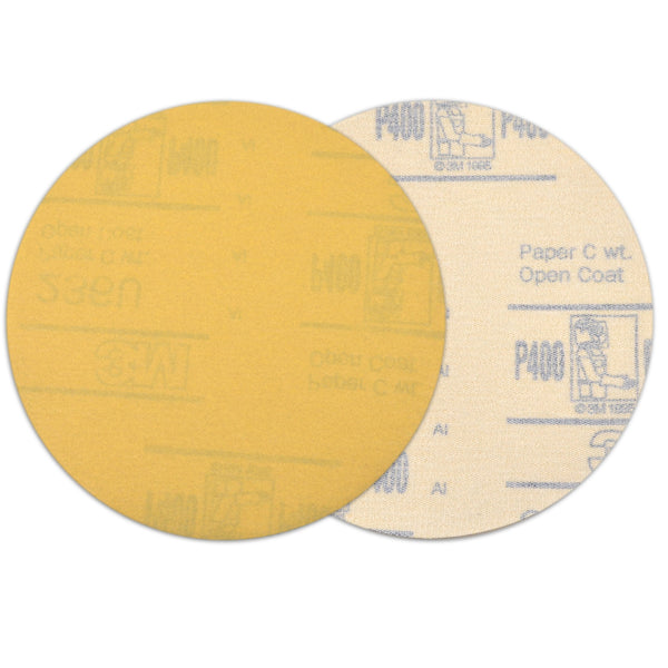 "6"" (150mm) 400 Grit Yellow Hook&Loop Sanding Discs for Dry Sanding, 10 Discs"