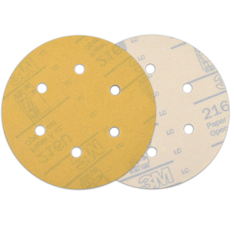 "6"" (150mm) 6-Hole 400 Grit Yellow Hook&Loop Sanding Discs for Dry Sanding, 10 Discs"