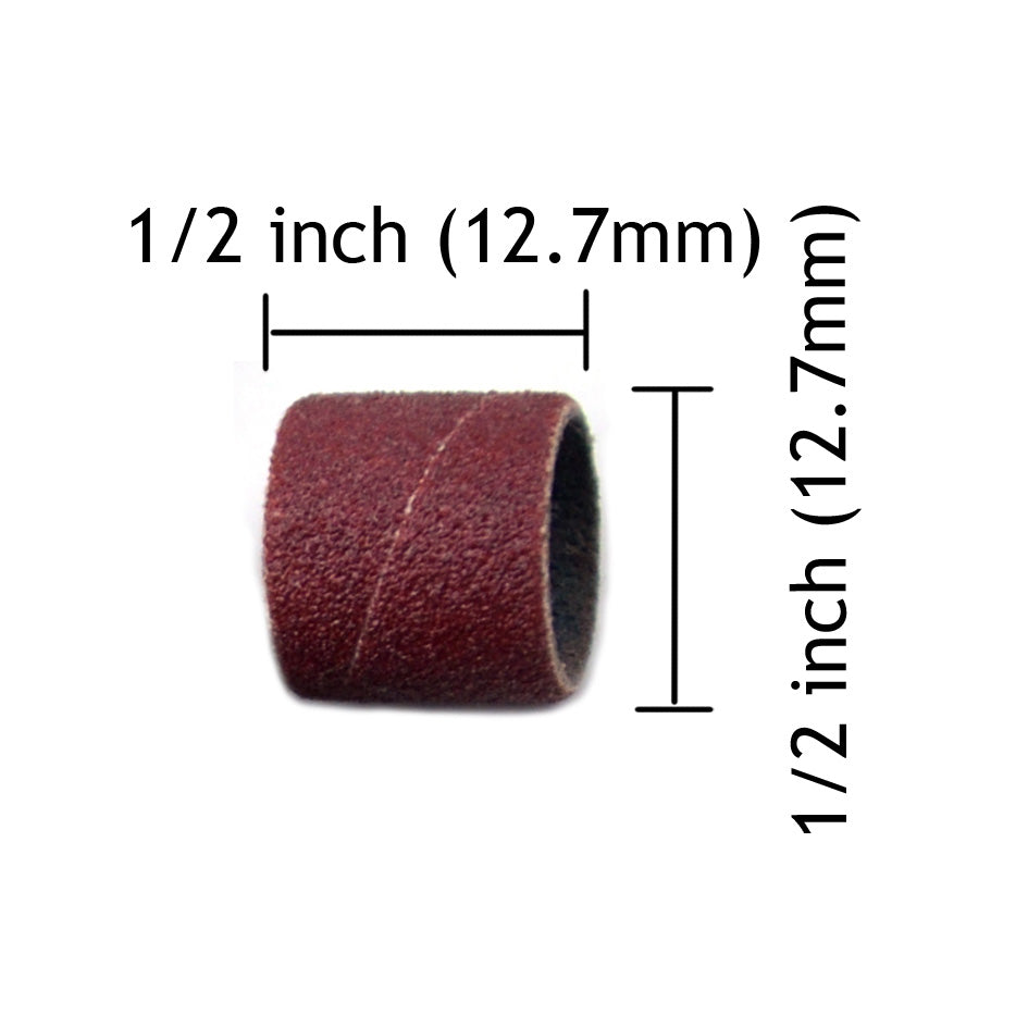 "1/2"" x 1/2"" 120 Grit Aluminum Oxide Sanding Ring Bands Spiral Wound Sanding Sleeves, 10 Bands"