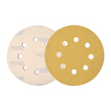 "5"" (125mm) 8-Hole 500 Grit Yellow Hook&Loop Sanding Discs for Dry Sanding, 10 Discs"
