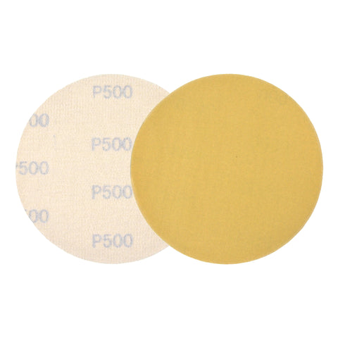 "5"" (125mm) 500 Grit Yellow Hook&Loop Sanding Discs for Dry Sanding, 10 Discs"