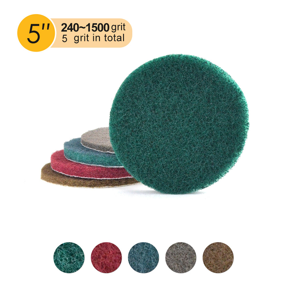 "5"" (125mm) Round Heavy Duty Hook and Loop Scouring Pads(240-1500 Grit), 1 PC"