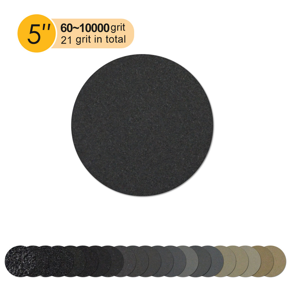 "5"" (125mm) Silicon Carbide Wet/Dry Hook & Loop Sanding Discs (60-10000 Grit), 1 Disc"