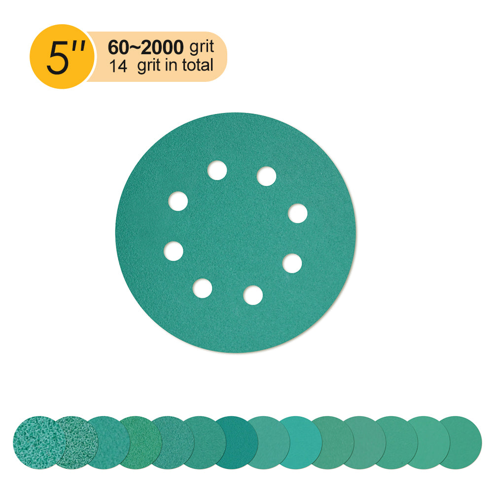 "5"" (125mm) 8-Hole Hook & Loop Wet/Dry Polyester Film Green Sanding Discs (80-2000 ), 1 Disc"