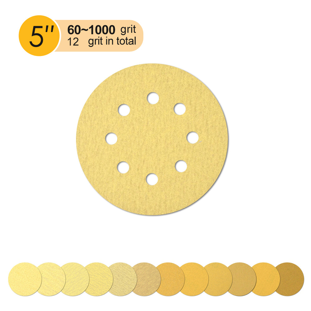 "5"" (125mm) 8-Hole Yellow Hook&Loop Sanding Discs for Dry Sanding (60-1000Grit), 1 Disc"
