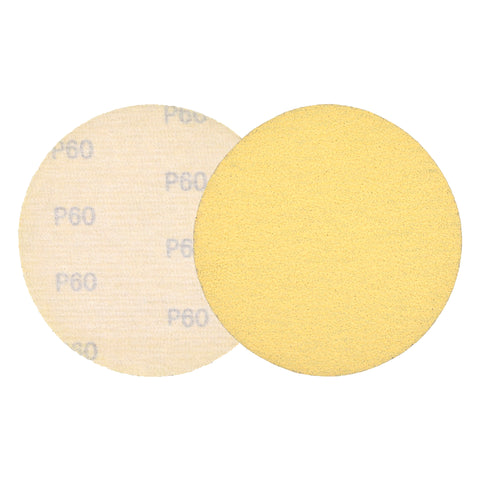 "5"" (125mm) 60 Grit Yellow Hook&Loop Sanding Discs for Dry Sanding, 10 Discs"
