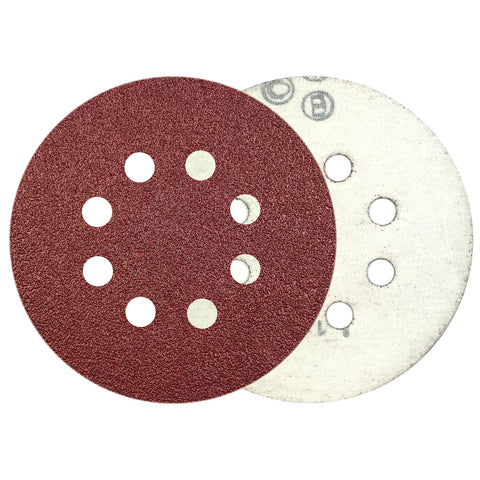 "5"" 60 Grit 8-Hole Red Grain Hook & Loop Sanding Discs, 10 Discs"
