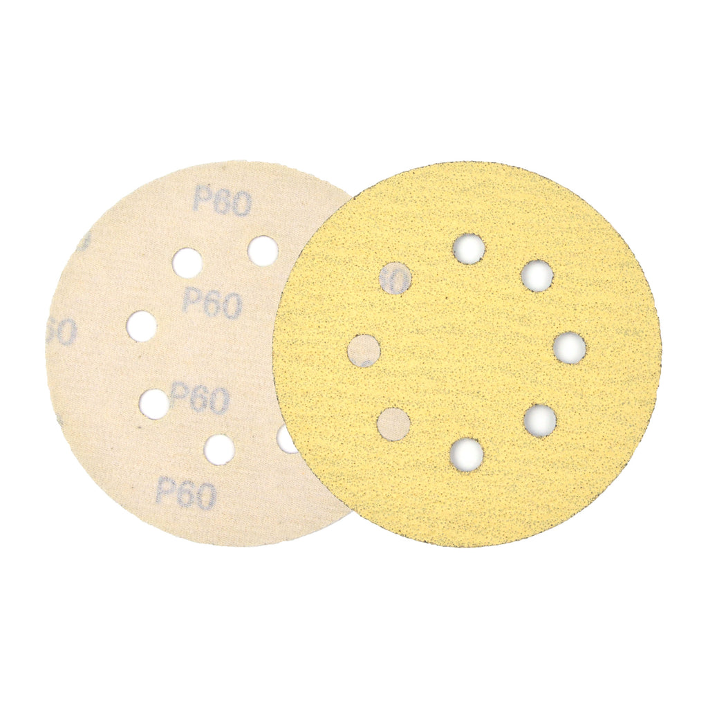 "USA Ali Abrasives 5/"" x 8 Hole Hook and Loop 150 Grit Sanding Discs 50 Discs"